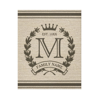 Monogrammed Family Logo Burlap Look Canvas Print
