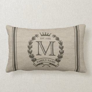 Monogrammed Family Logo Burlap Look Lumbar Pillow at Zazzle