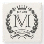 Monogrammed Family Logo Stone Coaster<br><div class='desc'>Laurel wreath and crown logo. Enter your initial,  last name/short text and year established. Great housewarming/special occasion/holiday gift for a family.</div>