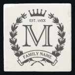 "Monogrammed Family Logo Stone Coaster<br><div class=""desc"">Laurel wreath and crown logo. Enter your initial,  last name/short text and year established. Great housewarming/special occasion/holiday gift for a family.</div>"