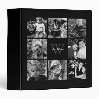 Monogrammed Family Photo Collage 3 Ring Binder