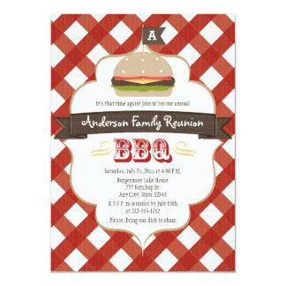 MONOGRAMMED FAMILY REUNION BBQ 5X7 PAPER INVITATION CARD