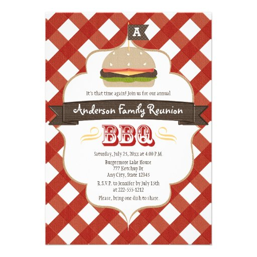 MONOGRAMMED FAMILY REUNION BBQ PERSONALIZED INVITES