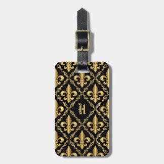 Monogrammed Fancy Gold Fleur-de-Lis Pattern Bag Tag