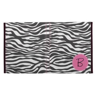 Monogrammed Fancy Zebra Print and Pink Label iPad Case