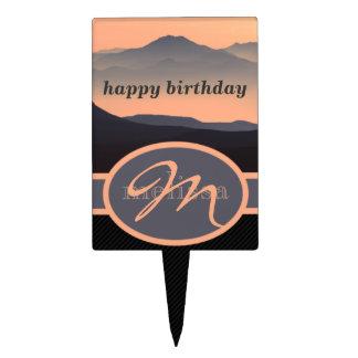 Monogrammed Fantasy Landscape Mountains Sunrise Cake Topper