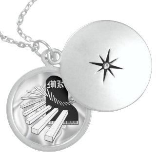 Monogrammed Fantasy Piano Sterling Silver Locket N