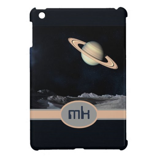 Monogrammed Fantasy Saturn Rising Landscape Space Cover For The iPad Mini