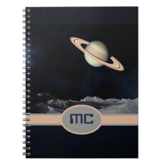 Monogrammed Fantasy Saturn Rising Landscape Space Notebook