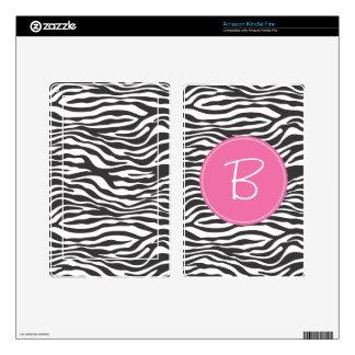 Monogrammed Fashion Zebra Print Kindle Kindle Fire Decal