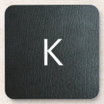 Monogrammed Faux Black Leather Texture Coaster