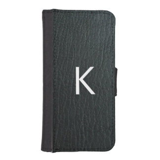 Monogrammed Faux Black Leather Texture Wallet Phone Case For iPhone SE/5/5s