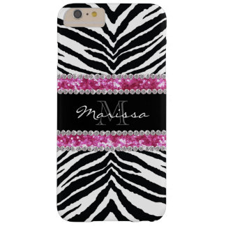 Monogrammed Faux Glitter Bling Rhinestone Girl's Barely There iPhone 6 Plus Case