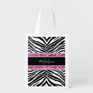 Monogrammed Faux Glitter Bling Rhinestone Girl's Grocery Bags