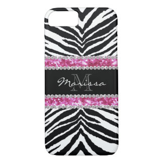 Monogrammed Faux Glitter Bling Rhinestone Girl's iPhone 8/7 Case