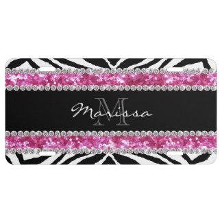 Monogrammed Faux Glitter Bling Rhinestone Girl's License Plate