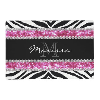 Monogrammed Faux Glitter Bling Rhinestone Girl's Laminated Placemat