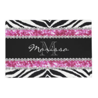 Monogrammed Faux Glitter Bling Rhinestone Girl's Placemat