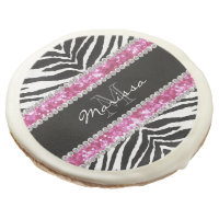 Monogrammed Faux Glitter Bling Rhinestone Girl's Sugar Cookie
