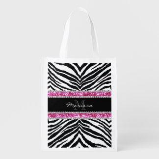 Monogrammed Faux Glitter Bling Rhinestone Girl's Grocery Bags