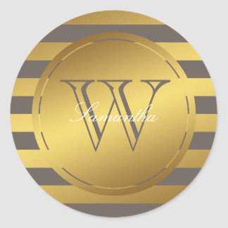 Monogrammed Faux Gold Foil Stripes Stickers