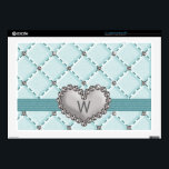 "Monogrammed Faux Rhinestone Quilted 17 In Laptop S Laptop Skins<br><div class=""desc"">A pretty and sophisticated light greenish blue hued faux quilted rhinestone heart 17 inch laptop skin that fits both a Mac and PC that can be personalized with your initial or monogram. This lovely monogrammed 17 in skin with a criss cross and diamond bling pattern is elegant and stylish with...</div>"