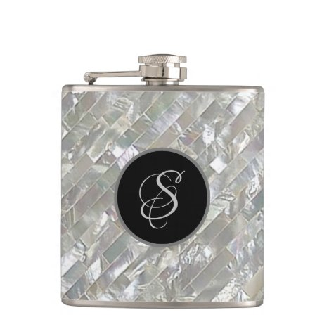 Monogrammed Faux White Mother Of Pearl Flask