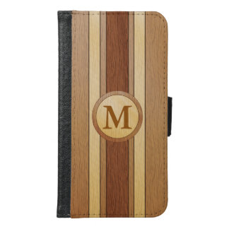 Monogrammed Faux wood Wallet Phone Case For Samsung Galaxy S6