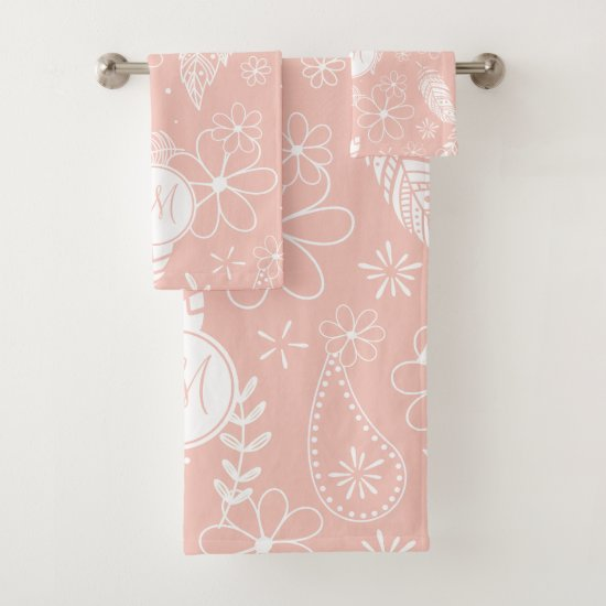 monogrammed feathers flower doodles pink ANY color Bath Towel Set