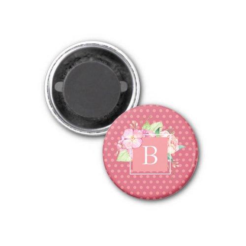 Monogrammed Feminine Pink Dots  Pink Coral Floral Magnet