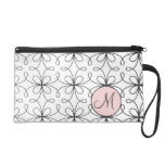 Monogrammed Fifties French Loop Pattern Wristlet Purse