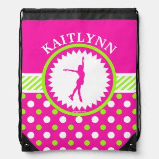 Monogrammed Figure Skater Pink - Green Polka-Dots Drawstring Backpack