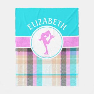 Monogrammed Figure Skater Summer Tartan Fleece Blanket