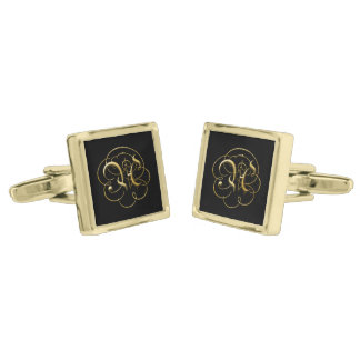 """Monogrammed Filigree """"A"""" - Square Gold Cuff Links"""