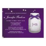Monogrammed Firefly Mason Jar Bridal Shower 5x7 Paper Invitation Card