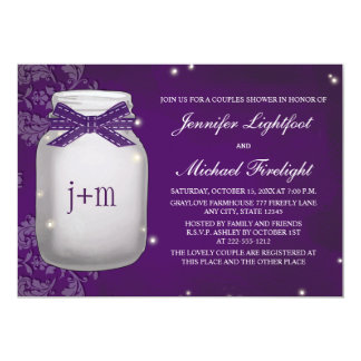 Monogrammed Firefly Mason Jar Couples Shower 5x7 Paper Invitation Card