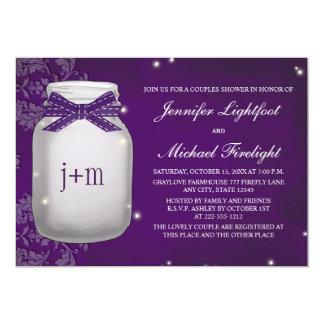 "Monogrammed Firefly Mason Jar Couples Shower 5"" X 7"" Invitation Card"
