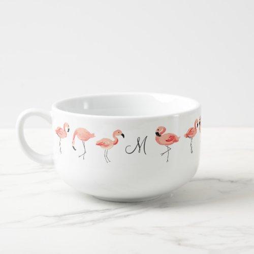 Monogrammed   Flamingo Party Soup Mug
