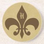 Monogrammed Fleur de lis Sandstone Coaster - H