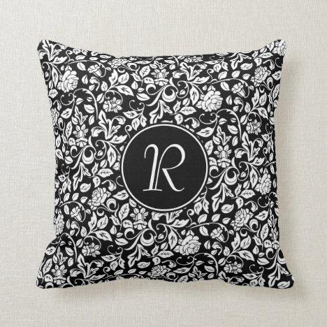 Monogrammed Floral Black & White Rose Vine Pattern Throw Pillow