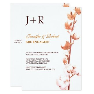 Monogrammed Floral Cotton Engagement Invitation