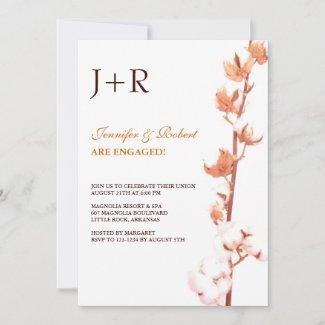 Monogrammed Floral Cotton Engagement Invitation