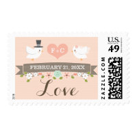 Monogrammed Floral Dove Love Wedding Postage