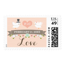 Monogrammed Floral Dove Love Wedding Postage