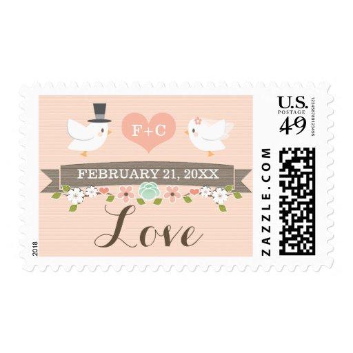 Monogrammed Floral Dove Love Wedding Postage Stamp