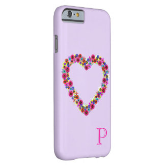 Monogrammed Floral Heart in Lavender Barely There iPhone 6 Case
