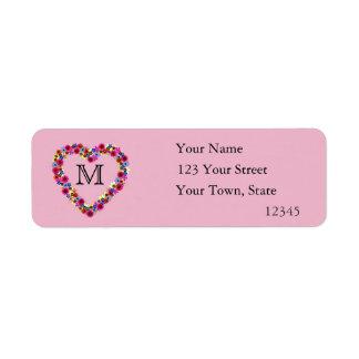 Monogrammed Floral Heart in Pink Label
