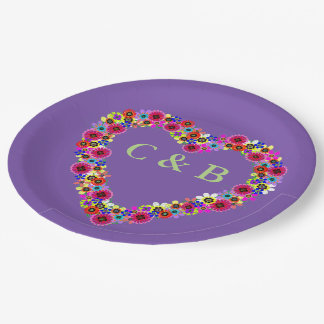 Monogrammed Floral Heart in Purple Paper Plate