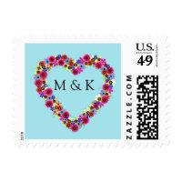 Monogrammed Floral Heart Postage