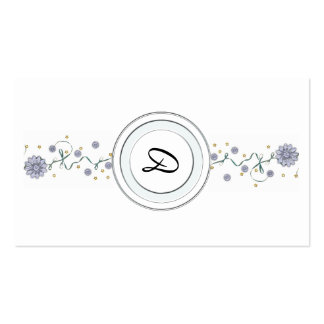 Monogrammed Floral Profile Business Cards Template